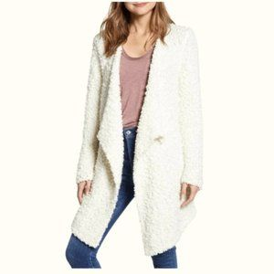 1 State Popcorn Waterfall Sherpa Cardigan Sweater